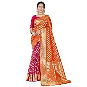 CLOTHAM Women's Banarasi Silk Blend Saree With Un-stitched Blouse (Banarasi_Saree_109_orange_Orange)