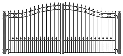 ALEKO DG12STPD St. Petersburg Style Dual Swing Galvanized Steel Driveway Security Gate 12 x 6 Feet Black