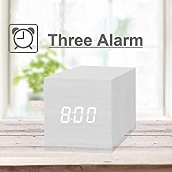 Digital Alarm Clock, with Wooden Electronic LED Time Display, 3 Alarm, 2.5-inch Cubic Small Mini Wood Made Electric Clocks for Bedroom, Bedside, White