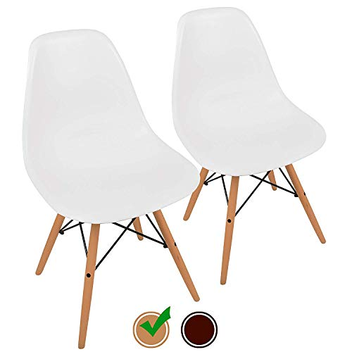 UrbanMod Mid Century Modern Style Chairs the 'Easy Assemble Dsw Ergoflex Abs Plastic and 'One Wipe Wonder' Cleaning Comfortable Dining Meets 5-Star, Set of 2, (Molded Fiberglass Lounge Chair)