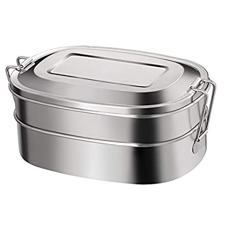 Amazon.com: Caja de almuerzo de acero inoxidable con ...