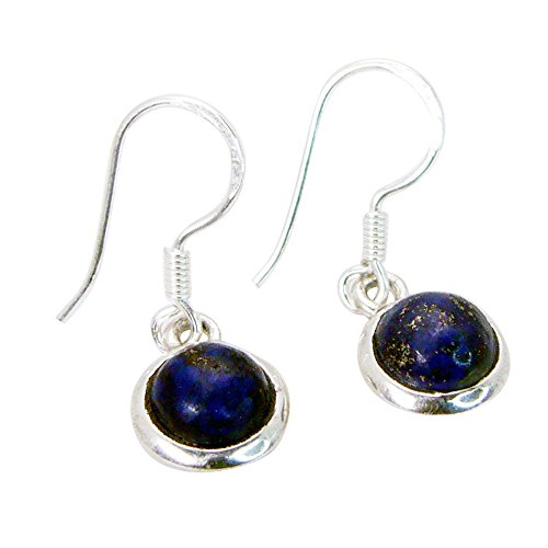 Gemsonclick Genuine Lapis Lazuli Drop Earrings For Women 925 Sterling Long Fish Hook Round Shape Jewelry from Gemsonclick