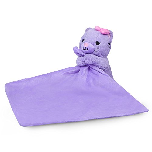 Waddle Purple Baby Blanket Security Blanket Plush Cat Toy Baby Rattle Baby - Kitty Angel Cat