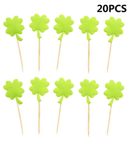 20pcs Four Leaves Cupcake Toppers Cupcake Picks Toppers for St Patrick's Day Party Decorations - Light Green]()