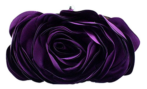Bywen Womens Rose Pattern Purse Party Clutch Shoulder Bags Purple