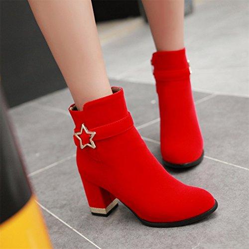 red impermeable cabeza y redonda con QX Taiwán de mujeres inicia damas botas gran grueso de invierno un El elegantes número otoño el ZQ Svxq0B0