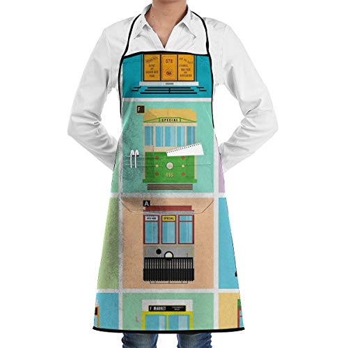 LALACO-Design Streetcars of San Francisco Cooking Women Kicthen Bib Aprons with Pockets for Chef,Grandma Suitable for Baking,Grilling,Painting Even Fit for -