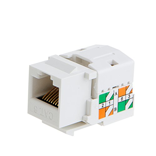 CableCreation 20-Pack Cat6 / RJ45 Keystone Module Connector, White (Cat5e Keystone Jack)