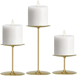 """smtyle Gold Candle Holders Set of 3 Candelabra with Iron-3.5"""" Diameter Ideal for Pillar LED Candles"""
