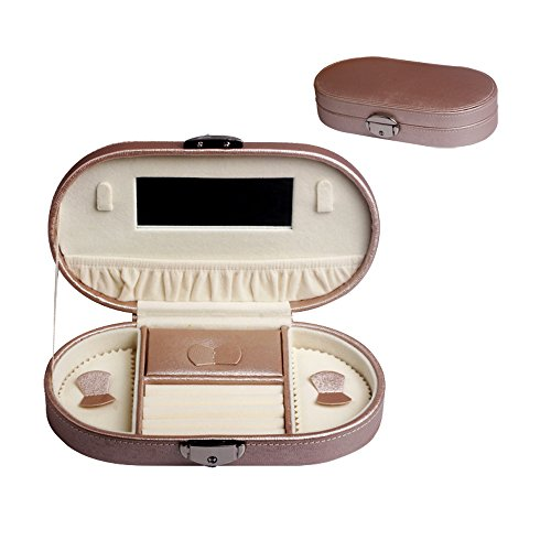 UnionPlus Faux Leather Travel Jewelry Box Organizer for Women Girls Necklace Earring Ring Necklace Storage (Champagne)
