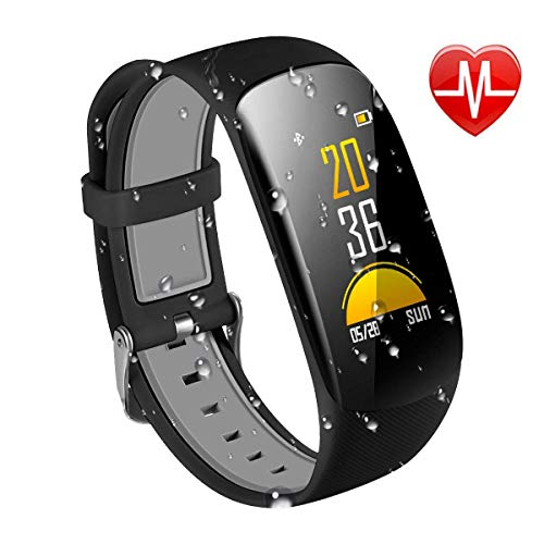 KARSEEN Fitness Tracker Z17C Waterproof Smart Watch with Color OLED Screen Heart Rate Monitor,Pedometer,Sleep Monitor,Step Calorie Counter Activity Tracker for Men Women (Black)