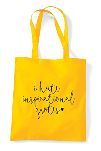 Statement Inspirational Bag Quotes Shopper Tote Yellow Hate I twTv88