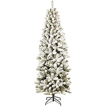 KING OF CHRISTMAS 7 Foot Prince Flock Pencil Artificial Christmas Tree