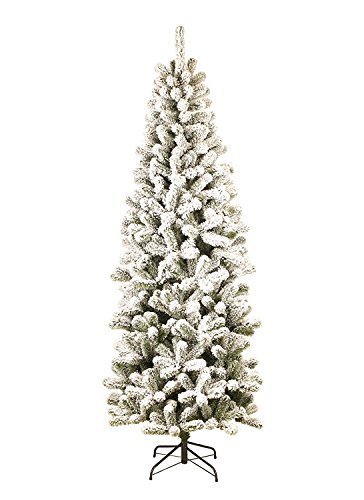 KING OF CHRISTMAS 8 Foot Prince Flock Slim Artificial Christmas Tree Unlit, 32