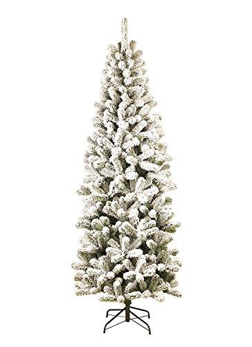 KING OF CHRISTMAS 12 Foot Prince Flock Pencil Artificial Christmas Tree Artificial Flocked Christmas Trees