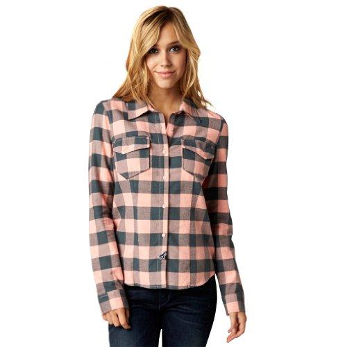 Fox Racing Womens Compass Flannel Long-Sleeve Shirts, Orange Sherbet, (Fox Racing Casual Wear)