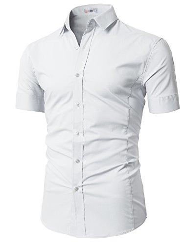 H2H Mens Basic Fashion Dressy Short Sleeves Shirt White US L/Asia XL (KMTSTS0133)