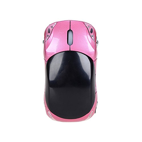 (IEasⓄn Wireless Mouse, Easily Portable Lightweight 2.4GHz 1200DPI Car Shape Wireless Optical Mouse USB Scroll Mice for Tablet Laptop Computer (Pink) )