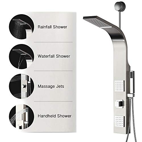 39'' Shower Panel Waterfall Rainfall Shower Head Tower System, 2 Big Body Message Jets, Hand Held Shower Head, Brushed Nickel Finish