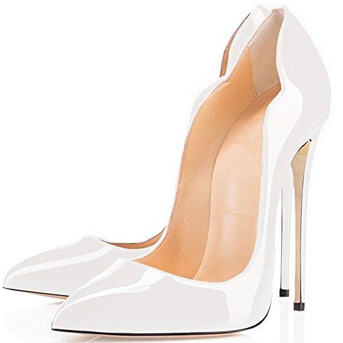 Comode Décolleté Per Le Donne, Sexy Scarpe A Punta Tacco Alto Slip On Shoes Pompe Da Sposa Per Feste Bianche