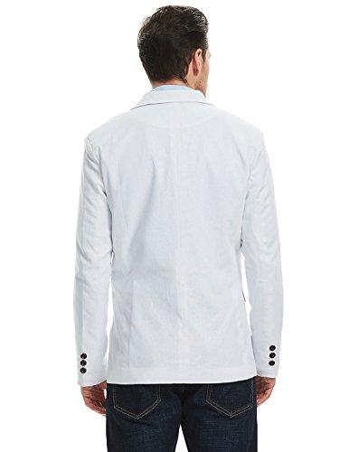 Pishon Men's Linen Blazer Lightweight Casual Solid One Button Slim Fit Sport Coat, White, Tag Size XXXL=US Size L by Pishon (Image #7)