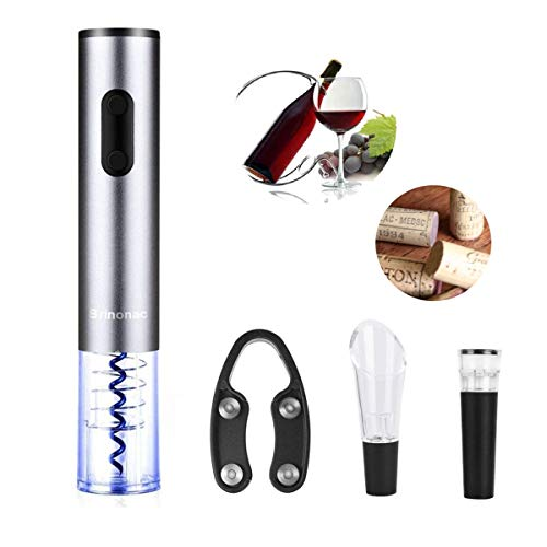 Electric Wine Opener Brinonac Modern Stainless Steel Rechargeable Corkscrew Bottle Opener with Foil Cutter, Vacuumed Stopper, Wine Pourer, 4 Rechargeable Batteries and Charger for Home or Holiday Gift