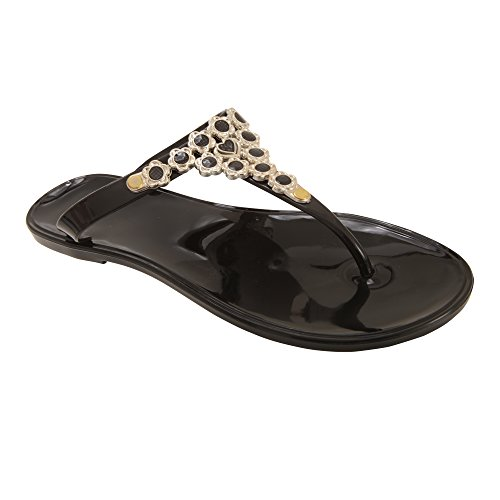 Universal Textiles Womens/Ladies Floral Design Jelly Flip Flops Black 8K0GPo