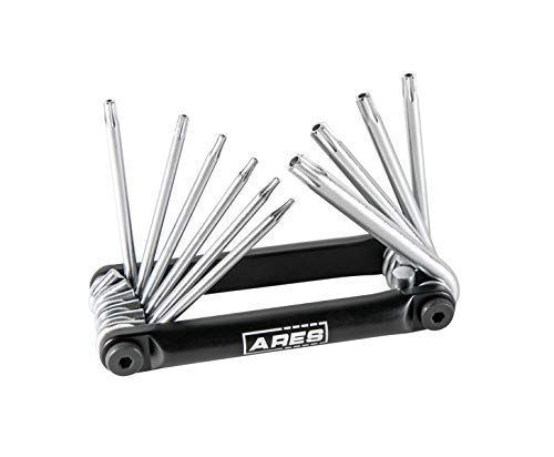 ARES 70077 | 10-Piece Tamper Proof Folding Star Key Set | Sizes Include Security Torx T-6 to T-30
