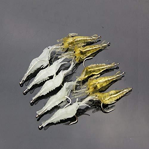 10 Unids//Lote 4 cm Suave Artificial de Camar/ón Se/ñuelo Suave Cebo de Pesca con Gancho Amarillo Ordinario