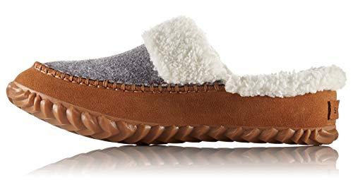 Sorel - Women's Out 'N About Slide Slipper with Faux Fur Lining, Light Grey/Elk, 7 M US