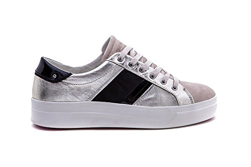 Crime Women's 25620KS126 Black Sneakers Leather London Silver rra5wq8