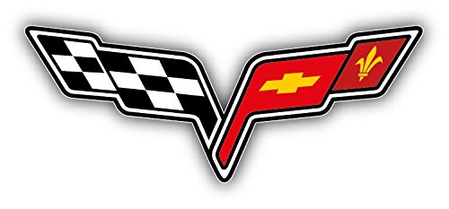 Corvette Racing Logo Auto Car Bumper Sticker Decal 6'' x 3'' ()