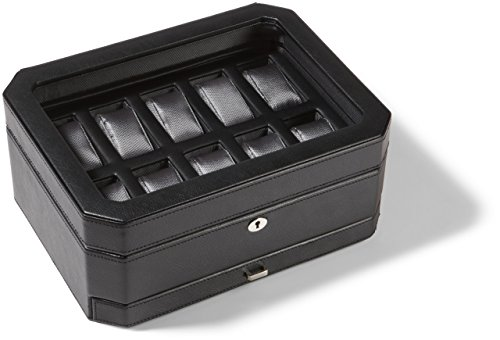 WOLF 4586029 Windsor 10 Piece Watch Box with Drawer, Black from WOLF
