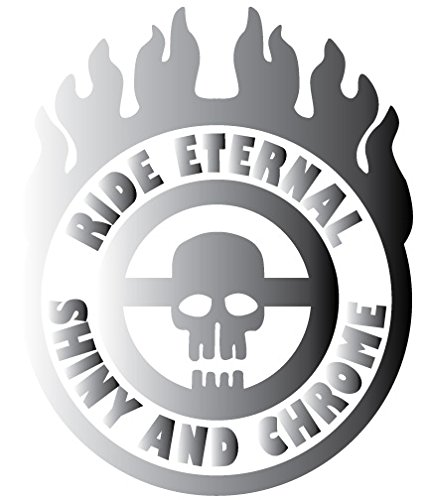 Ride Eternal Shiny and Chrome Badge Mad Max Style Vinyl Jeep Truck Rig Decal Sticker Small or Large Sizes - Small - Silver