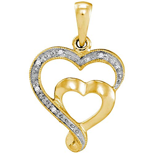 The Diamond Deal 10k Yellow Gold Womens Diamond-accent Double Heart Pendant .01 Cttw ()