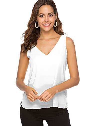 Alice CO Womens Chiffon Sleeveless Layered Tank Tops V-Neck Casual Loose Blouse Shirts (Small, White) (White Skirt Brocade)