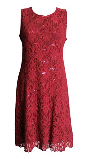 Carmine Red - Sequined Lace Evening Cocktail Dress in Size 14 (Sparkly Fancy Dress)