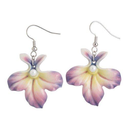 Franz Fashion AccessoriesLobelia Flower Rhodium Plated Brass & Sculptured Porcelain Pierced Earrings ()