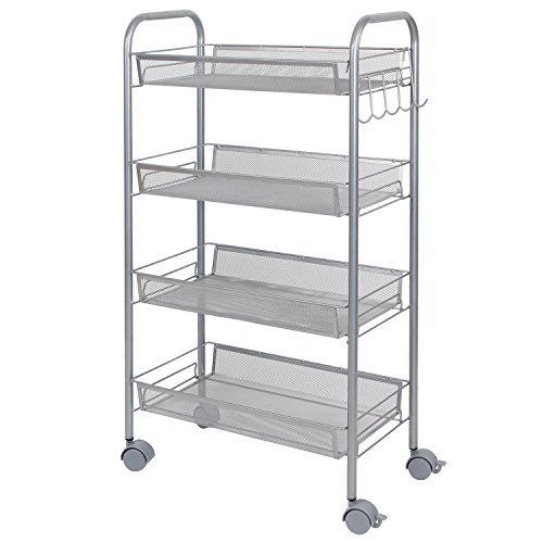 Lifewit Mesh Rolling Storage Cart with 4 Baskets and Hook...