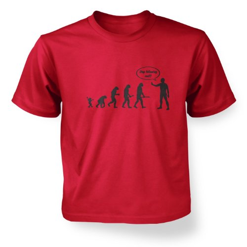 ' Stop Following Me! Evolution Kids T-shirt - Red XS (3-4) - Evolution T-shirt Kids