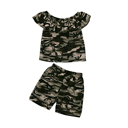 - Fineser 2Pcs Toddler Baby Girls Summer Camouflage Ruffle Collar Short Sleeve T-Shirt Tops+Pants Outfits Set (Camouflage, 4T)