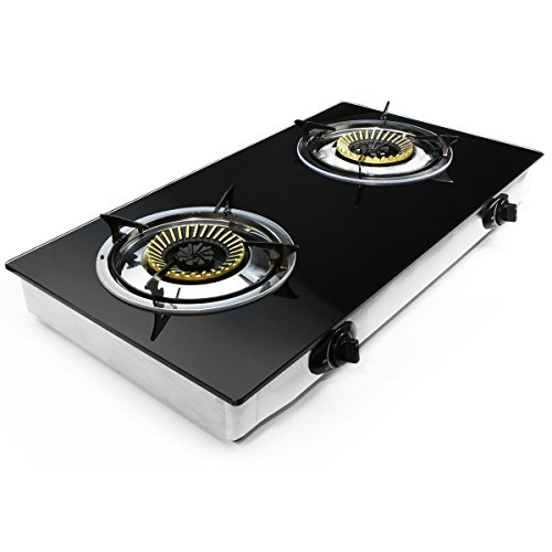 XtremepowerUS Deluxe Propane Gas Range Stove 2 Burner Tempered Glass Cooktop Auto ()