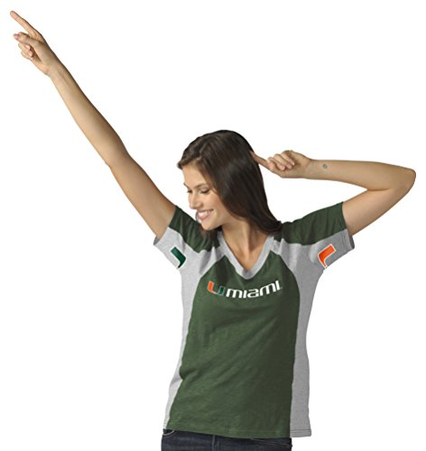 Hands High NCAA Miami Hurricanes Women's Sideline Tee, Medium, Green/Gray
