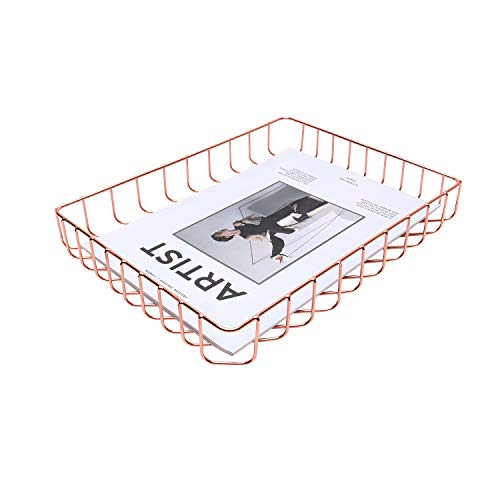 Z PLINRISE Metal Desk File Tray, Wire Letter Tray Organizer for Mail, File, Magazine and Newspaper, Decorative Home Office Storage Organizer, Letter Size, Rose Gold