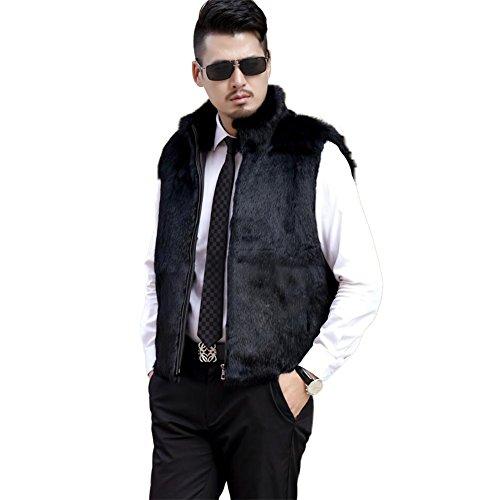 ETHEL ANDERSON Men Vest, Rabbit Fur Zipper Vest Gilet Waistcoat Jacket With Stand up Collar For Men ()