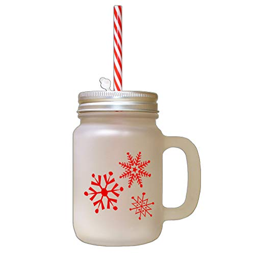 Red Snowflakes #3 Frosted Glass Mason Jar With Straw ()