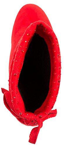 Elara - Botas plisadas Mujer Rojo