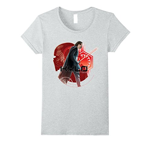 Womens Star Wars Last Jedi Kylo Ren Watch Your Back Graphic T-Shirt Large Heather Grey