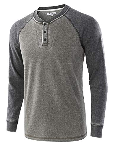 (HARBETH Men's Casual Soft Fleece Baseball Henley Sweatshirt Pullover Sweater Burnout.Army/Burnout.Gray)