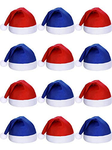 SATINIOR 12 Pieces Santa Hats Christmas Non Woven Fabric Hat for Holidays Xmas (Blue and Red) -